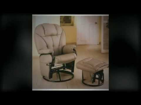 Leatherette Glider Recliner Rocking Chair With Ottoman