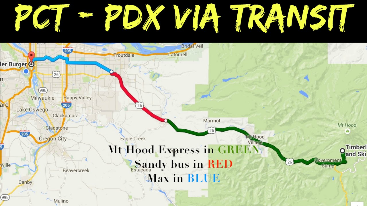 How to travel between the PCT (Timberline) and downtown Portland ...