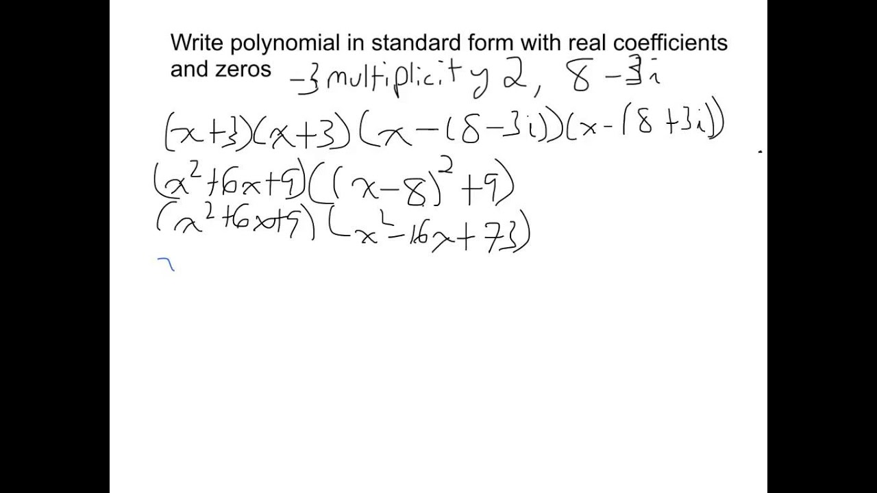 Write Polynomial In Standard Form From