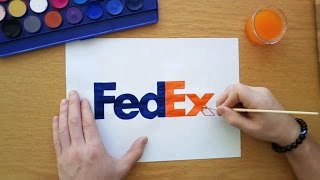 How to draw the FedEx logo (Drawing famous logos)
