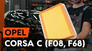 Kaip pakeisti Variklio oro filtras OPEL CORSA C (F08, F68) - internetinis nemokamas vaizdo
