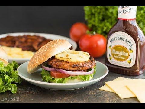 Hawaiian Chicken Burgers with Grilled Pineapple Recipe