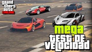 GTA V - MEGA TEST DE VELOCIDAD!!   Todos los autos, cual es el mas rapido ?