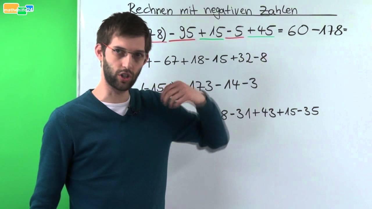 Rechnen mit negativen Zahlen (Ganze Zahlen) - Übung 1 - YouTube