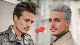 My Platinum Blonde Hair Transformation | Mens Silver Hairstyle 2020