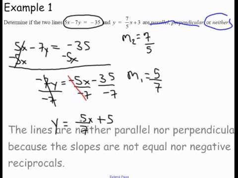 determining if two lines are parallel perpendicular or neither