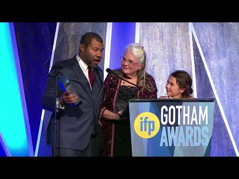 Jordan Peele winning the Best Screenplay 2017 IFP Gotham Award for GET OUT