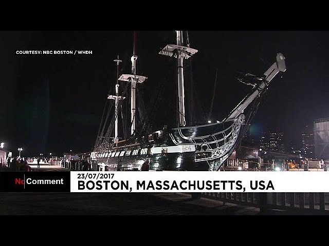 The USS Constitution, warship from 1797, returns to water