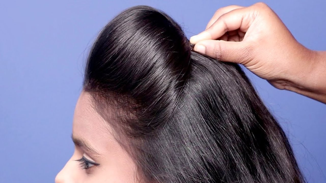 Easy hairstyles for medium hair | Party Hairstyles | Hair puff | Hairstyles | simple puff ...