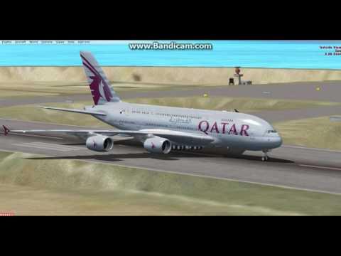 QATAR AIRWAYS a380-800 DOHA TO MUMBAI FULL VIDEO FSX