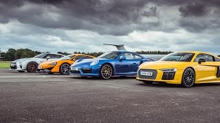 McLaren 570S vs Porsche 911 Turbo S vs Audi R8 vs Nissan GT R   Top Gear  Drag Races