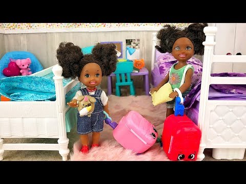 Barbie Sisters Sleepover - Ellis First Night Away From Home! | Naiah and Elli Doll Show Ep. 18