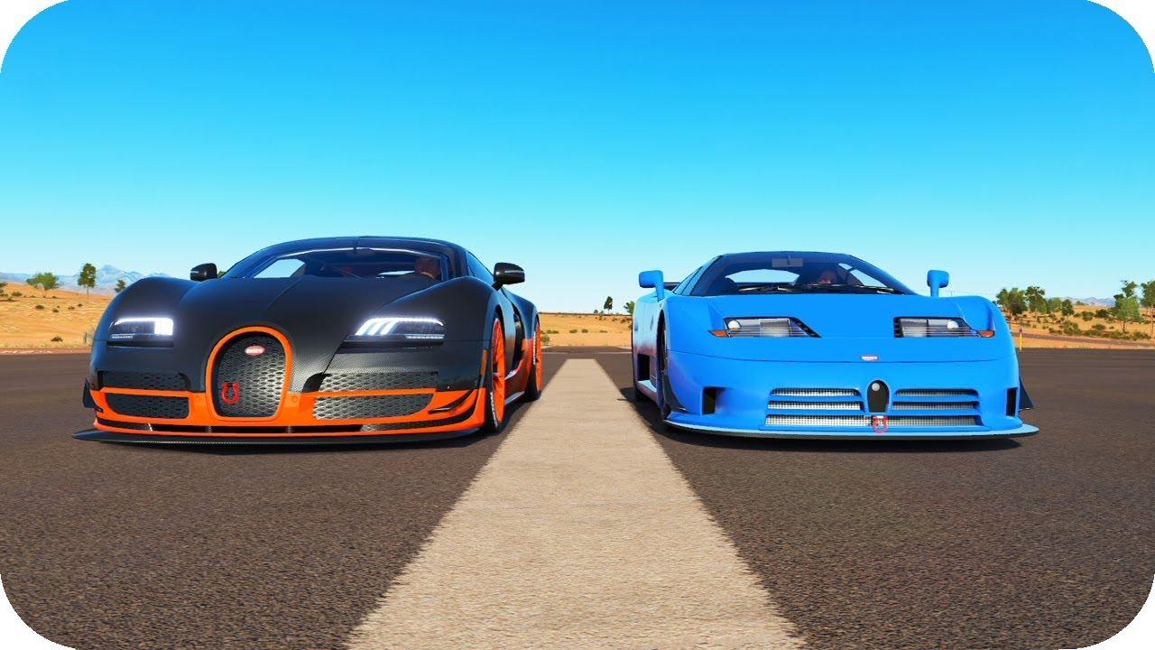 bugatti veyron ss vs bugatti eb110 ss motor w16 8 0 quad turbo fh3 youtube