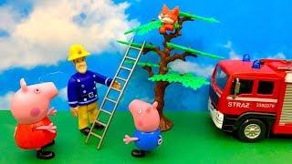Bajka Świnka Peppa, Strażak Sam i kotek na drzewie  Zabawa dla dzieci po Polsku