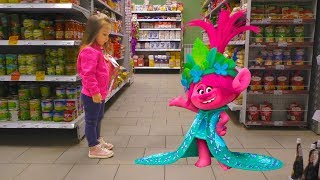 Тролли Собери всех на детской площадке Розочка и вся коллекция Trolls 5 on the indoor playground