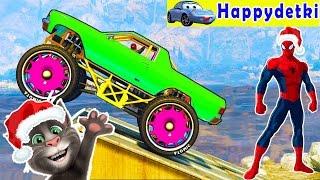 Человек паук катается на больших цветных машиновозах, мультики про машинки