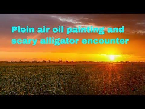 Plein air oil painting and scary alligator encounter