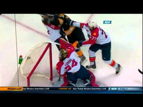 Carl Soderberg gets high sticked by Tim Thomas Jan 28 2014 Panthers vs Bruins
