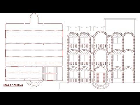 Mosque floor plan design in autocad
