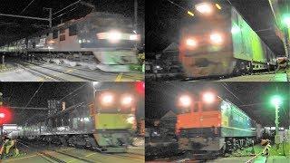 2019,5,8 貨物列車 いろいろいっぱい44本 深夜に響く大迫力モーター音と高速ジョイント‼ 野田新町を爆走する深夜超特急の高速貨物列車たち #貨物列車 #貨物列車いろいろいっぱい #高速貨物列車