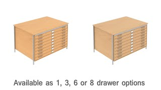 Beech & Oak A1 / A0 Paper Size Plan Chest Table - Ddc Office Furniture