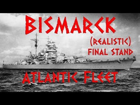 BISMARCK - (REALISTIC) FINAL STAND VS KING GEORGE V & RODNEY - Atlantic Fleet Gameplay
