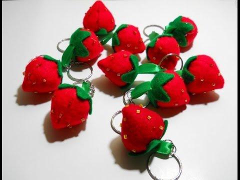 Felt Strawberry Keychain Tutorial - YouTube c2b64d106