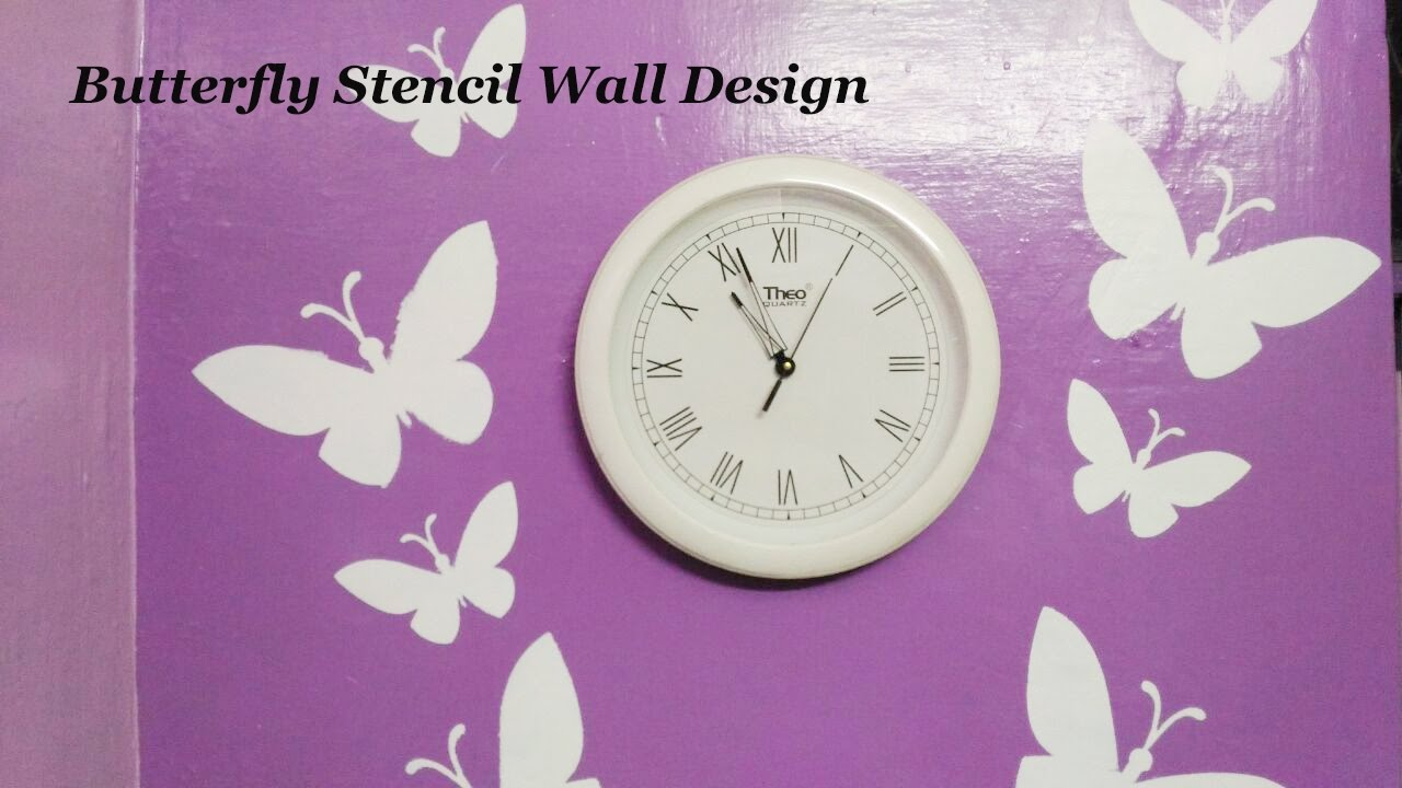 Asian Paints Royale Play Butterfly Stencil Wall Design Part 1 ... for Butterfly Painting Designs  110zmd