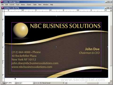 InDesign business card template with bleeds - YouTube