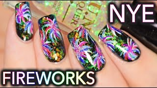 New Years fireworks nail art
