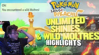 MOLTRES IN THE WILD??? & UNLIMITED SHINY POKEMON -  Pokémon Lets Go! Stream Highlights