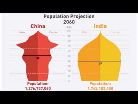 China and India population development 1960-2060