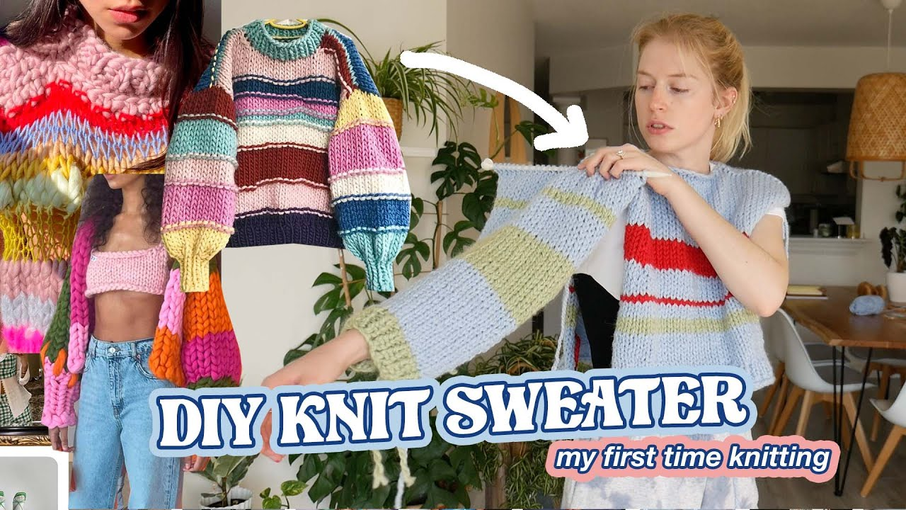 Download knitting a sweater for the first time // DIY EASY KNIT SWEATER with NO PATTERN