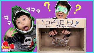 아빠와 눈 가리고 상자속 물건맞추기 스퀴시 장난감 촉감놀이 게임챌린지 & 타요키즈카페 & Tayo