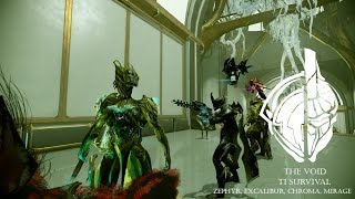 Warframe- The Void#23- T1 Survival With Friends Zephyr, Excalibur, Chroma, Mirage