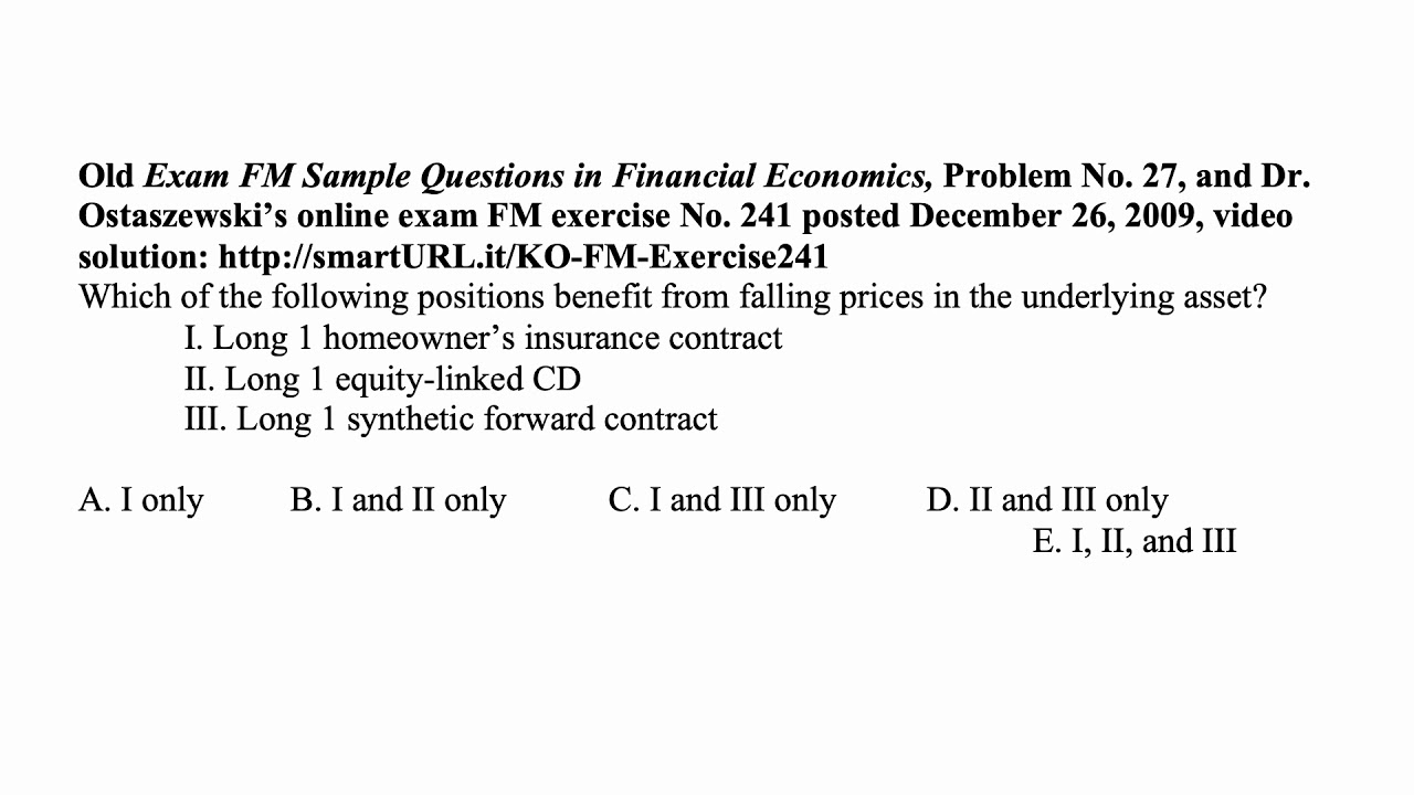 Exam IFM exercise for May 7, 2019