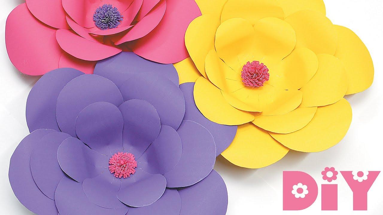 Como fazer FLOR DE PAPEL gigante DIY para DECORA u00c7ÃO YouTube -> Decoração De Flores De Papel Para Aniversario