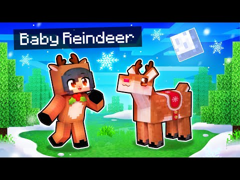 Playing Minecraft as a BABY Reindeer!