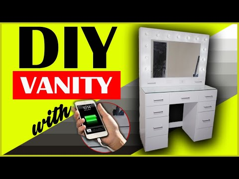 DIY Makeup Vanity Mirror with Lights, Dimmer, & Phone Charger plus more..
