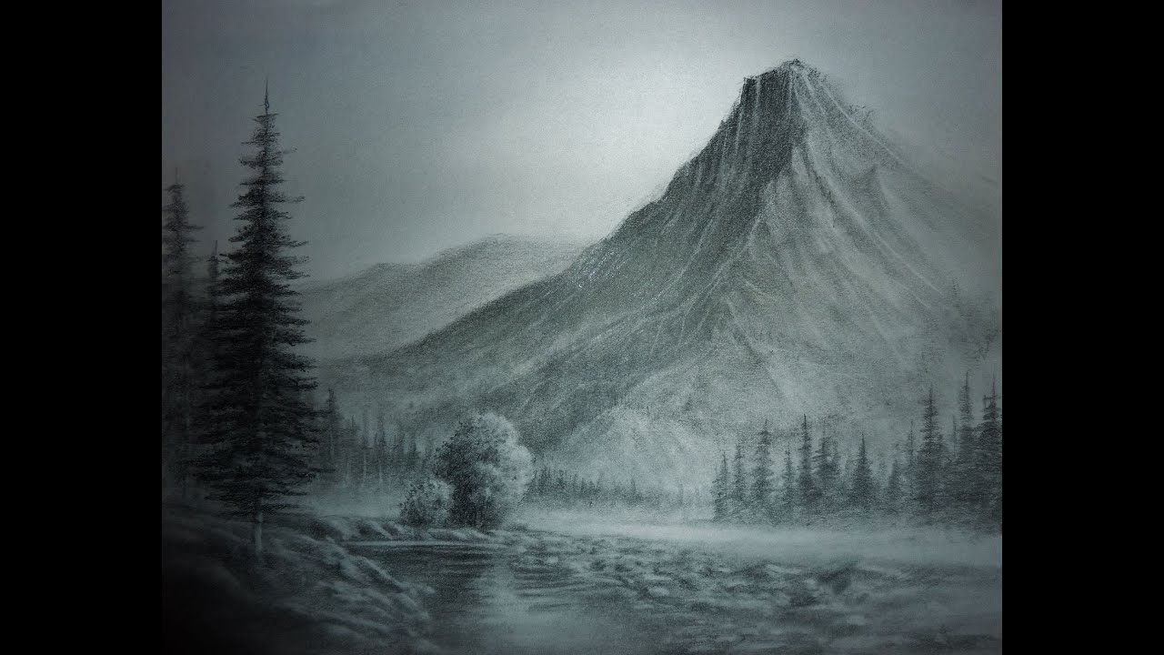 Landscape Pencil Drawings, trees,buildings,mountains,water ...