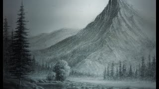 Landscape Pencil Drawings, trees,buildings,mountains,water etc