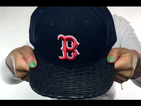 8ecd589e41c Red Sox  LEATHER-RIP SNAPBACK  Navy-Black Hat by New Era - YouTube