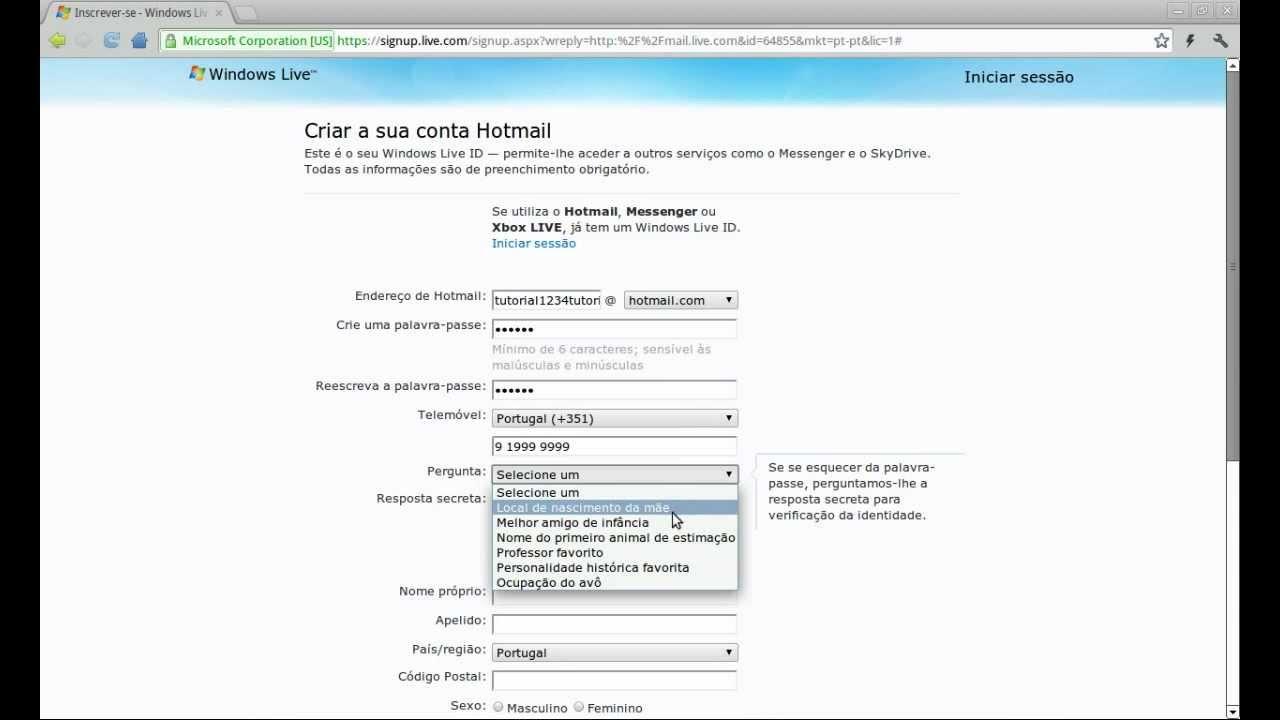 como criar email hotmail - photo #13