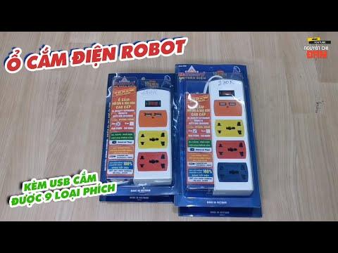Ổ cắm điện Robot kèm USB cắm được 9 loại phích cắm khác nhau.