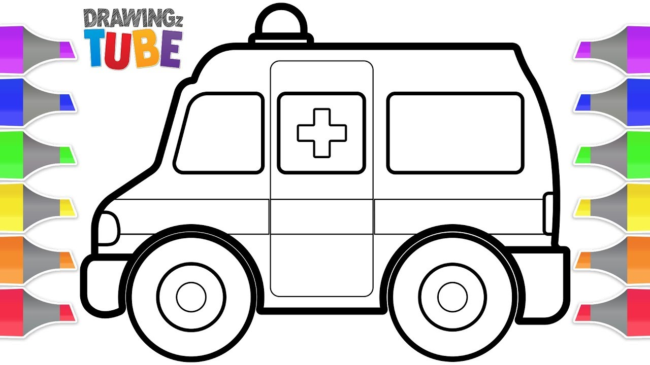 Toy Ambulance Drawing and Coloring for Kids | Drawing for ...