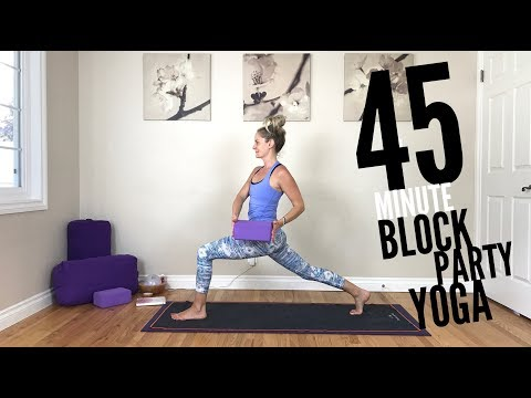 45 Minute Yoga Vinyasa Flow Block Party for Core, Weight Loss and Legs