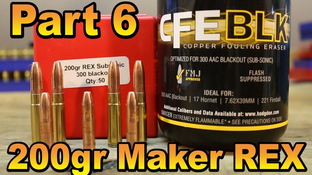 Hodgdon CFE BLK part 6: Maker 200gr REX subsonic - YouTube