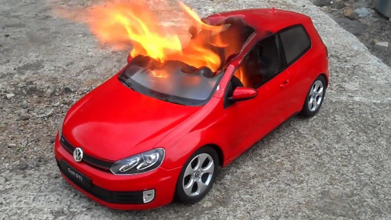 Burning My Volkswagen Golf Fire Vs Car Quemando Coche De Juguete