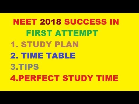 Target Neet 2018 Success In First Attempt Study Plan Time Table