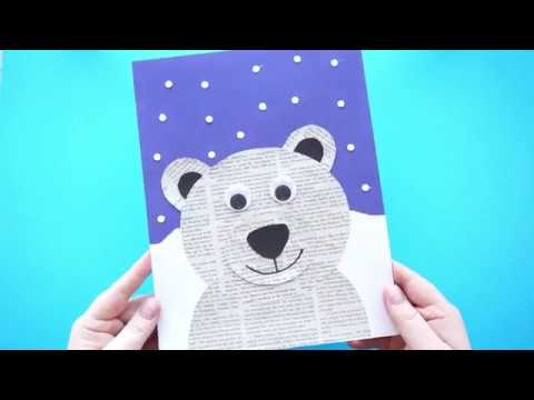 Awesome Newspaper Polar Bear Craft For Kids Youtube